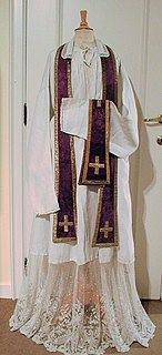 Stole (vestment) long narrow cloth band worn around the neck and falling from the shoulders as part of ecclesiastical dress