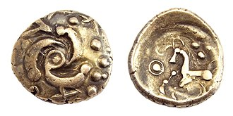 Eburones - Gold stater of the Eburones.  Triskele on the obverse, Celticized horse on the reverse.