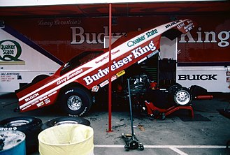 Kenny Bernstein - Bernstein's 1987 Funny Car, which had just set the record for the first elapsed time below 5.4 seconds