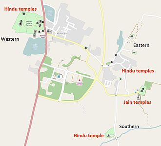 Kandariya Mahadeva Temple - Temples layout map of Khajuraho Group of Monuments: Kandariya Mahadeva Temple is in the western group