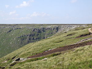 Derbyshire - The rugged moorland edge of the southern Pennines at Kinder Downfall