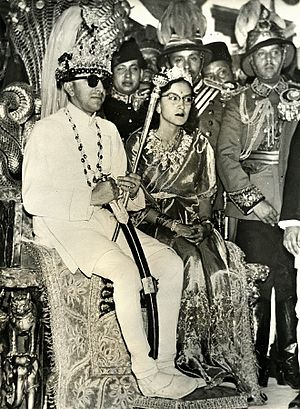 Queen Ratna of Nepal - King Mahendra Bir Bikram Shah Dev and Queen Ratna Rajya Laxmi Devi Shah in their coronation on 2 May 1956.