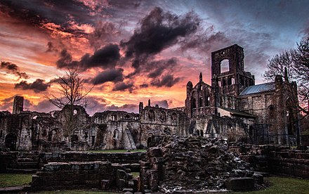 Kirkstall Abbey. Founded c. 1152 Kirkstall Abbey at sunset.jpg
