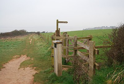Kissing gate at the beginning of a permissive path to Gore Lane - geograph.org.uk - 1112951.jpg