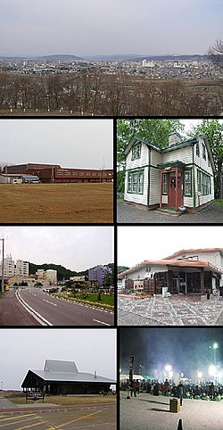 Clockwise from top: View of downtown Kitami from Southhill Forest Park, Pierson Memorial Museum, Takinoyu Spa, Kitami BBQ Festival in February, Wakka Nature Center, Street in Onneyu area, Kitami Municipal Curling Arena
