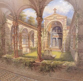 Park Glienicke - Cloister Courtyard, painting on vase, 1854