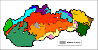 Kremnica Mountains - Location of Kremnica Mountains in Slovakia (in gray)