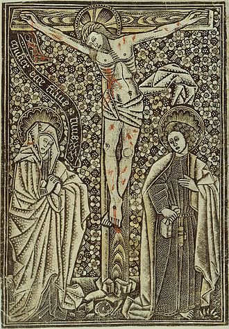 """Metalcut - German """"dotted manner"""" print, partly with added colours, 15th century"""