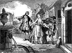 Gravure de L'École des femmes, 1719.