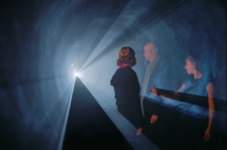 """Anthony McCall - Anthony McCall. """"Line Describing a Cone"""" (1973). """"Into the Light: The Projected Image in American Art 1966-74"""", Whitney Museum of American Art, 2001. Photograph by Hank Graber."""