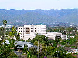 A view of Loma Linda University Medical Center with the city in the background