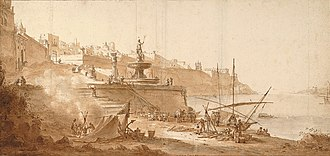 Fort Ricasoli - A 1664 sketch of the Grand Harbour by Willem Schellinks, with Orsi Tower and battery on the extreme right
