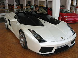 A white Lamborghini Concept S in the Lamborghi...