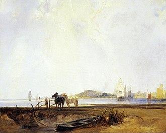 Richard Parkes Bonington - Landscape near Quilleboeuf, c. 1824–1825. Yale Center for British Art