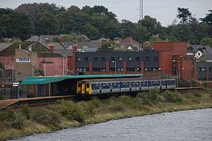 Larne Town railway station - NIR Class 450 train at Larne Town station in 2006