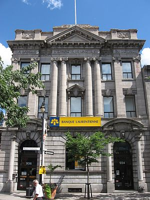 Laurentian Bank of Canada - Former Laurentian Bank branch located in Montreal, in a historical building still engraved with the bank's pre-1987 name.