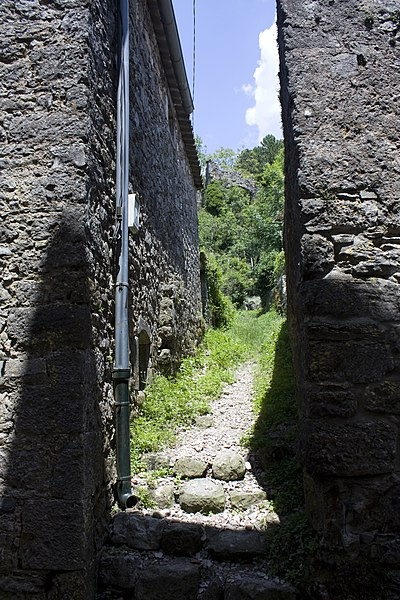 English:  An alley leading to the gardens at the foot of the fortifications.