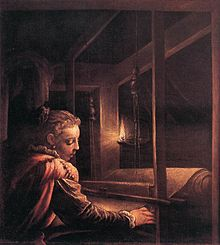16th-century painting of Penelope weaving by candlelight.