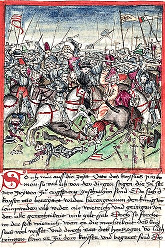 Battle of Lechfeld (955) - The Battle of Lechfeld, from a 1457 illustration in Sigmund Meisterlin's codex of Nuremberg history