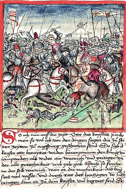 A 1457 illustration of the Battle of Lechfeld in Sigmund Meisterlin's codex about the history of Nuremberg