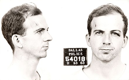 Mug shot of Lee Harvey Oswald, the individual responsible for the assassination of United States President John F. Kennedy on November 22, 1963. Oswald himself was assassinated two days later by Jack Ruby, the first such event to receive wide television coverage. Lee Harvey Oswald arrest card 1963.jpg