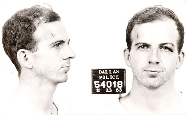 From commons.wikimedia.org: Lee Harvey Oswald arrest card 1963 {MID-148346}