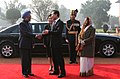 Lee Myung Bak, and Mrs. Kim Yoon Ok, with the President, Smt. Pratibha Devisingh Patil and the Prime Minister, Dr. Manmohan Singh at the ceremonial reception, at Rashtrapati Bhavan, in New Delhi on January 25, 2010 (1).jpg
