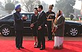 Lee Myung Bak, and Mrs. Kim Yoon Ok, with the President, Smt. Pratibha Devisingh Patil and the Prime Minister, Dr. Manmohan Singh at the ceremonial reception, at Rashtrapati Bhavan, in New Delhi on January 25, 2010 (2).jpg