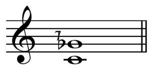 Septimal tritone - Image: Lesser septimal tritone on C