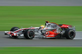 Motorsport in the United Kingdom - 4 time Formula One World Champion Lewis Hamilton driving for McLaren at the 2008 British Grand Prix at Silverstone Circuit.