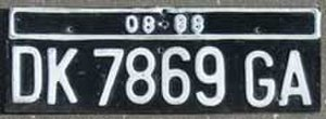 Vehicle registration plates of Indonesia - Image: License plate from Indonesia
