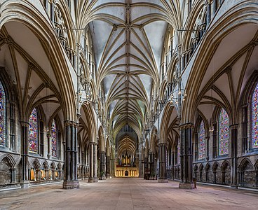 The nave of Lincoln Cathedral, England.