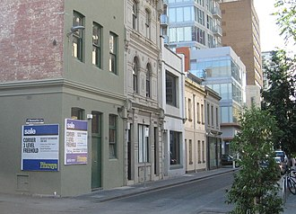 Little Lon district - Buildings in Little Lonsdale Street, numbers 118-162, between Exploration Lane and Bennetts Lane.