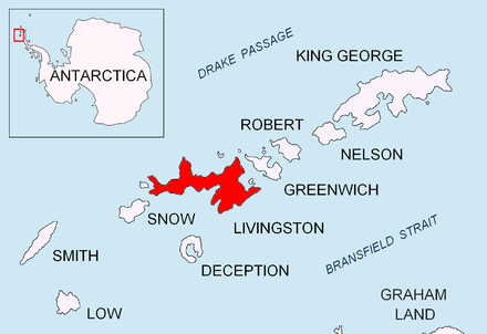 Location of Livingston Island in the South Shetland Islands. Livingston-Island-location-map.png