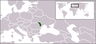 A map showing the location of Moldova