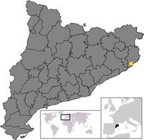 Location of Castell-Platja d'Aro, in Catalonia.
