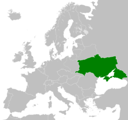 Borders proposed by the UPR delegation at the Paris Peace Conference of 1919-1920.[1]