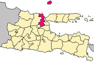 Gresik Regency - Location of Gresik Regency, next to Surabaya in East Java.