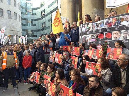 Supporters of the Turkish Labour Party protesting in London following the 2015 Ankara bombings London protest 2015 Ankara bombings (2).jpg