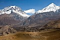 Looking back up the Jhong Khola valley to Jharkot, Muktinath, and the Thorong La pass (4523539947).jpg