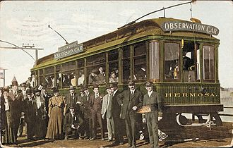 Watts, California - A Balloon Route excursion car, 1905