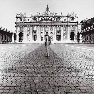 Lothar Wolleh - Self-portrait in front of the St. Peter's Basilica, 1964