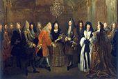 Ludwig XIV. von Frankreich empfängt den späteren König von Polen und Kurfürsten von Sachsen, August III., im Schloss Fontainebleau 1714 von Louis de Silvestre, 1715 (Quelle: Wikimedia)