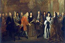 Ludwig XIV. von Frankreich empfängt den späteren König von Polen und Kurfürsten von Sachsen, August III., 1714 im Schloss Fontainebleau, Gemälde von Louis de Silvestre, 1715 (Quelle: Wikimedia)