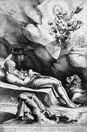 St. Jerome dying in solitude. Engraving, Ciamb...
