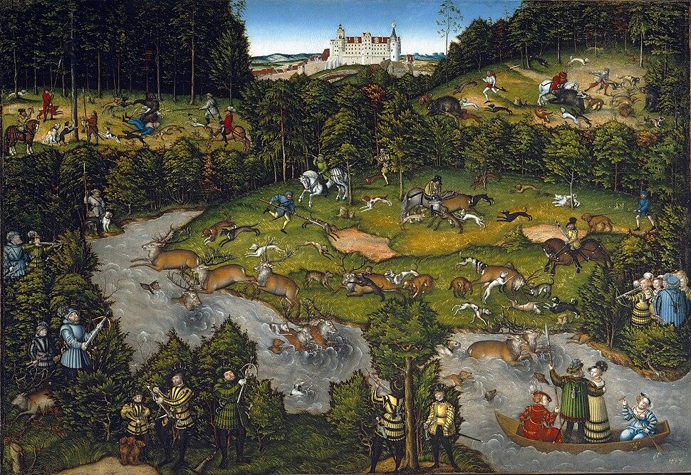 Lucas Cranach d.%C3%84. - Hofjagd bei Schloss Hartenfels