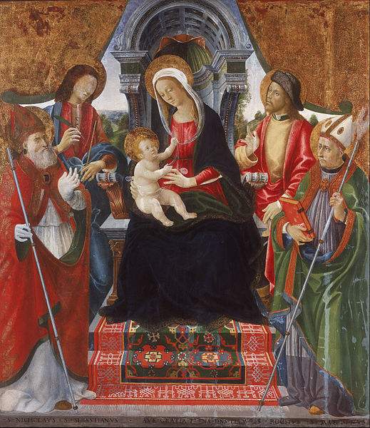 File:Lucchese School Late 15th Century - Virgin and Child with Saints Nicholas, Sebastian, Roch and Martin - Google Art Project.jpg