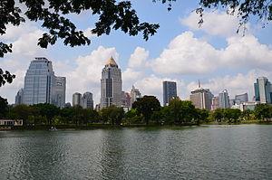 Lumphini Park - View towards the Silom-Sathorn districts