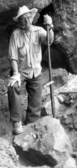 Luther Cressman - Luther Cressman at Fort Rock Cave, Oregon, 1966