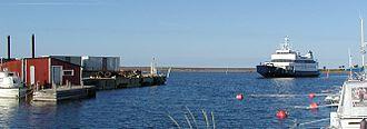 Jurmo - The M/S Aspö approaching the island of Jurmo.